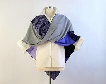 Mobius Shawl/Mobius Wrap/Patchwork Poncho/Lilac,Purple,Black/Brenda Abdullah