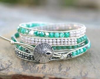 Sea Foam Green Agate Gemstone, Crystal, Beaded Wrap Bracelet, 5 Wrap Leather Bracelet,Bohemian Bracelet, Leather Wrap, Beach Boho Bracelet