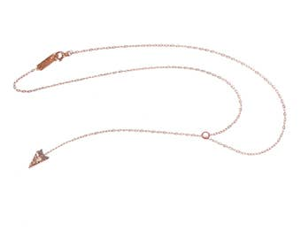14k Rose Gold Falling Arrowhead Choker | 14k Rose Gold Choker Necklace