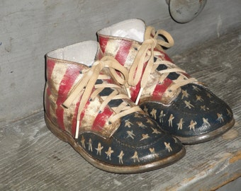 Hand Painted Stars and Stripes Hard Sole Toddler Shoes