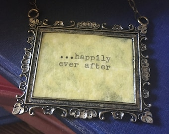 Happily Ever After Story Words Quote Typewriter Frame Saying Happy Necklace Forever