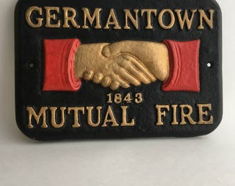 Vintage Fire Insurance Marker Germantown Mutual Fire 1843 Cast Iron