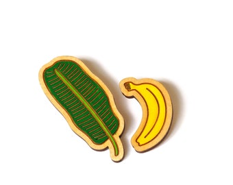 Banana and Banana Leaf brooch set, Banana Brooch, Handmade Wooden Brooches, Laser Cut Jewellery, Hand Painted, Rock Cakes, Brighton