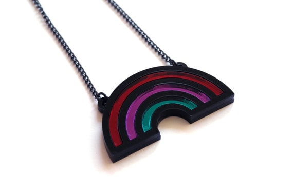 Winter Rainbow Necklace, Statement Necklace, Shiny Mirror Acrylic, Statement Piece, Subtle Colours