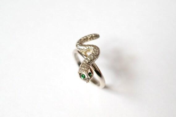 Snake Ring, Sterling Silver Ring, Tsavorite Garnet Snake Eyes, Handmade in Brighton, uk