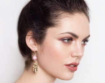 Pink Earrings - Art Deco Style Earrings - Geometric Earrings - Pink and Gold Earrings - Sansa Earrings (SD1207)