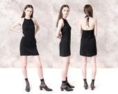 90s BLACK HALTER MINI dress Dynamite backless Vintage Small / Xs party cocktail Minimal / better Stay together