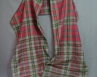 Victorian Plaid Silk Shawl, 96 inches long, Antique 1800s Tartan, Red, Black and Green, Wrap