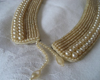 VINTAGE 1950's Faux Pearl Beaded Dress Trim or Collar