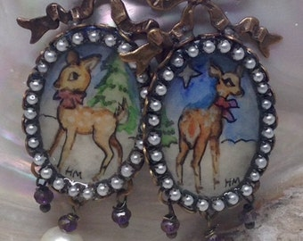 Lilygrace Christmas Reindeer Handpainted Cameo Earrings with South Sea Pearls and Brass Bows