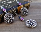 Silver Flower Locket Necklace Round Crystal Accents Large Size For Two Photos