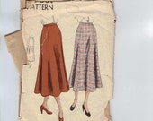 1940s Vintage Sewing Pattern Vogue 6364 Misses Flared Bell Shaped Skirt Waist 28 Hip 37 1940s