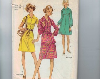 1970s Vintage Sewing Pattern Simplicity 9501 Misses A Line Shirt Dress Size 16 Bust 38 Waist 29 70s 1971