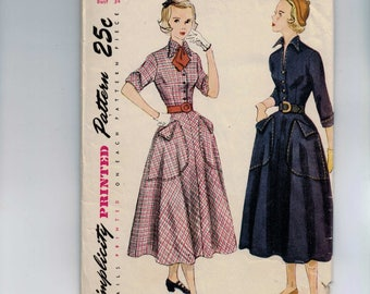 1950s Vintage Sewing Pattern Simplicity 3001 Misses Teenage Full Skirt Dress with Visible Stitching Detail Large Pockets Size 16 Bust 34 50s