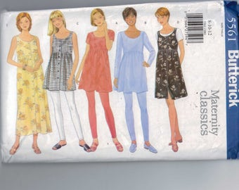 Misses Sewing Pattern Butterick 5561 Misses maternity Classics Tunic Dress Jumper High Waisted Leggings Size 8 10 12 Bust 31 32 34 UNCUT