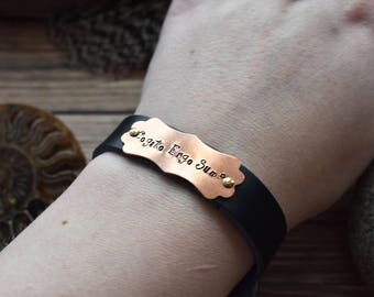 Cogito Ergo Sum Leather Bracelet- Black Leather I Think Therefore I am Descartes Bracelet- Hand Stamped Copper Philosophy Jewelry