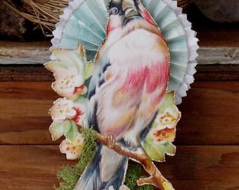 Vintage Victorian Inspired Bird Standing on a Spool Rosette Flower Spring