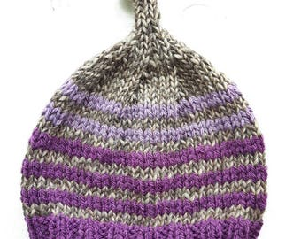 HENDREARY knitted Gnome Hat #3291 purple / lavender / jacob
