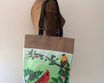 Upcycled Bird Seed Bag Tote with Repurposed Burlap Lining, OOAK, Made in Maine