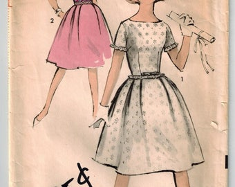 Vintage 60s Teen Junior Dress Sewing Pattern Size 13 Bust 33 Fitted Bodice Full Skirt Boat Neckline Short Sleeves or Sleeveless Summer Dress