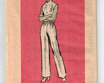 Vintage 70's Misses Slacks Pants Sewing Pattern Elastic Waist Size 34 Wide Leg Easy Sewing Pattern Pull On Pants Marian Martin Mail Order