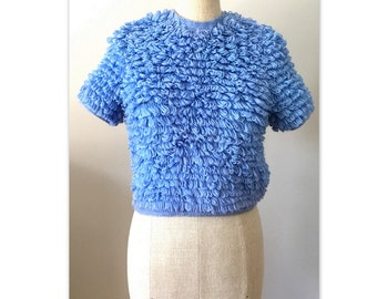 Vintage 60s Pullover Sweater Pop Top S Cropped with short sleeves in blue