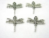 Detailed Dragonfly Charms Set of Four Silver Color 31x29mm