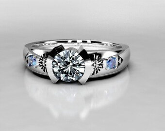 Zelda Engagement Ring in Silver, Palladium & Gold, Forever One Moissanite Engagement Ring, Legend of Zelda Wedding sapphire ring