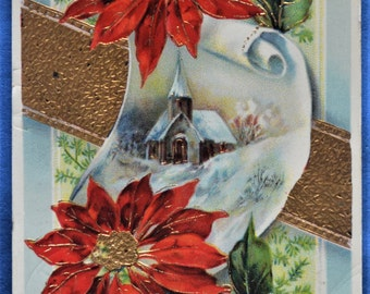 Postcard Christmas Wishes Church Poinsettias Gold Embossed 1912 Printed Germany