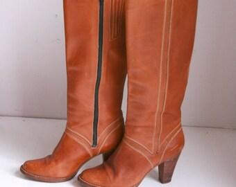 Vintage Nine West ladies boots brown leather high heeled size 7B