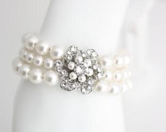 Pearl Wedding Bracelet  Wedding Cuff Bracelet  Bridal Bracelet Pearl  Flower Bracelet  Vintage Wedding Jewelry  SABINE CLASSIC BL