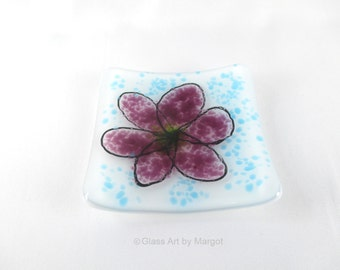 Small 3 Inch Square Fused Glass Ring Dish Purple Flower Blue Background