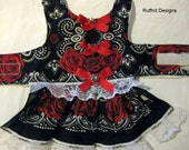 XS Red Roses on black Dog Dress New