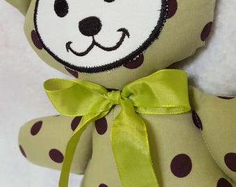 Green Polk a Dot Teddy Bear Boy Girl Baby Gift Toy Shower Cotton Fabric Machine Washable Ribbon Bow