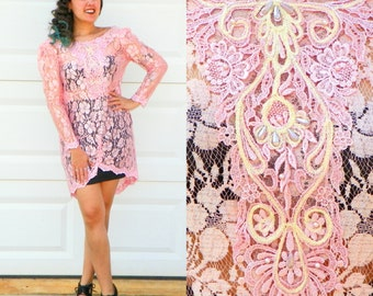 1990s Vintage Pink Lace High Low Dress Sheer Bubblegum Pink Lace with Iridescent Embroidery and Pink Pearls Long Sleeves Size Medium