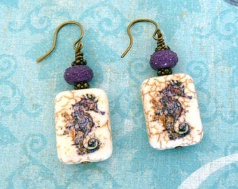 Sea Horse Earrings, Purple Seahorse Bead Earrings, Stone Beaded Dangles, Ocean Lover Gift, Lavender Seahorse Jewelry,  Gift for Her