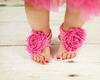 Pink Baby Girl Barefoot Sandals,Baby Girl Clothes,Pink Sandal Baby Girl,New Baby Gift,Pink Baby Sandals,Baby Toe Sandals,Toe Flower Sandals
