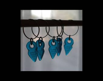 Stitch Markers: Translucent Teal Blue Pressed Glass Stitch Markers