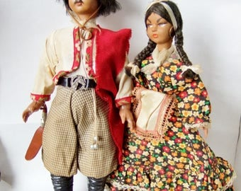 Vintage Argentinian Gaucho Dolls -  Amazing Pair of Large Souvenir Dolls in Costume