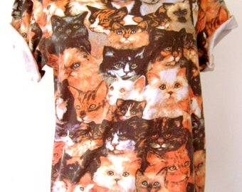 90s 1990s MEOW Kitty Cats! Fun Novelty CAT PRINT Tee T-Shirt