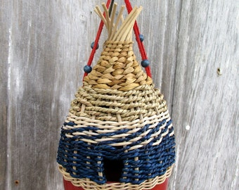 Patriotic Birdhouse Woven of Fibers from The Bent Tree Gallery