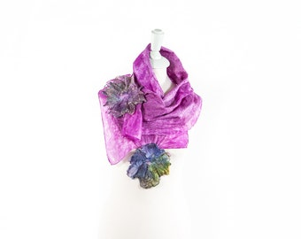 Silk Scarf| ladies Scarves | Felt Scarf | Kate Ramsey | art | gift | handmade| Fashion | Style | Seide |unique | wool scarves