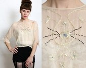 RESERVED  1920s Silk Blouse Embroidery