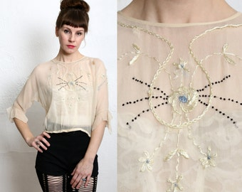 SALE 1920s Silk Blouse Embroidery