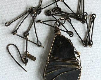 Black Onyx Pendulum Necklace, Handmade Jewelry, Handmade OX Brass Chain, Art Jewelry, OOAK Necklace, Gemstone Necklace, Cheldena ArtWear