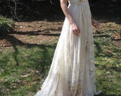 Reserved Listing for Amy deposit on Custom One of a Kind Hippie lace Collage Dress with train and sash, boho wedding dress
