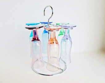 Aparitif Glass Set, Chrome Glass Holder, 6 colored glasses, Swank Caddy Liqueur Set Barware Stand Mid Century Cordial Liqueur Stem Glassware