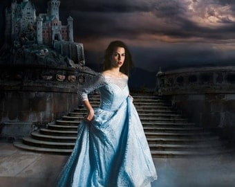 SALE Princess Blue Gown - Cinderella Gown - Lace Overlay Sleeping Beauty - Disney inspired - READY to Ship S/M