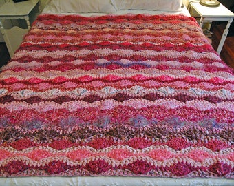 Bright and Fun Pink and Purple Handmade Crocheted Afghan Throw Blanket with Wavy Shell Pattern