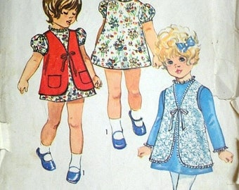 Vintage 70's Simplicity 9130 Jiffy Sewing Pattern, Child's Jiffy Dress and Vest, Size 2, 21 Breast, 1970's Retro Fashion